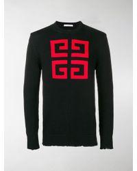 Givenchy - Intarsien-Pullover mit Logo - Lyst