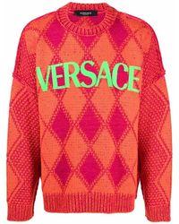 Versace Pullover mit Argyle-Strickmuster - Orange
