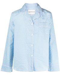 Youths in Balaclava Pajama Pinstripe Shirt - Blue
