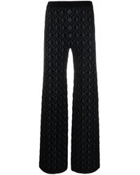 Marine Serre Moon-jacquard Straight-leg Trousers - Black