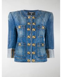 Balmain Collarless Denim Jacket - Blue