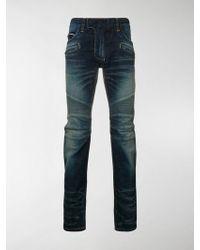 Balmain - Tapered Biker Jeans - Lyst