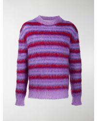 Marni Striped Crew-neck Sweater - Purple