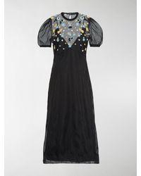 Miu Miu Floral Embroidered Sheer Dress - Black