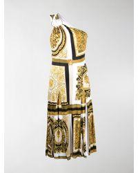 Versace Baroque-print One-shoulder Dress - White