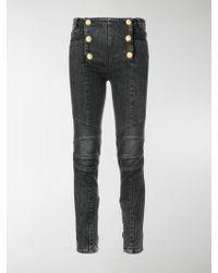 Balmain - Six-button Skinny Jeans - Lyst