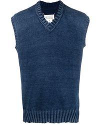 Maison Margiela V-neck Knitted Vest - Blue