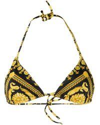 Versace Bikinioberteil mit Barock-Print - Gelb