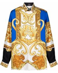 Versace Seidenhemd mit Medusa Renaissance-Print - Blau