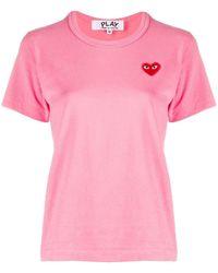 COMME DES GARÇONS PLAY Heart-print Crew Neck T-shirt - Pink