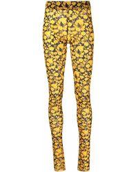 Ganni Leggings mit Blumen-Print - Gelb