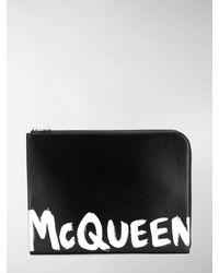 Alexander McQueen POUCH PORTACARTE LOGO GRAFFITI - Nero