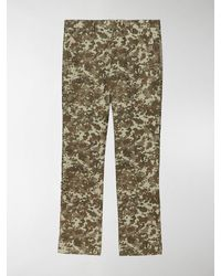 Burberry Monogram Print Stripe Detail Cotton Trousers - Multicolour