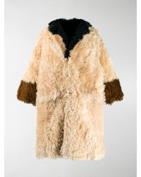 Marni Panelled Fur Coat - Natural