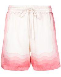 CASABLANCA Wave-gradient Silk Shorts - Pink
