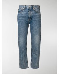 RE/DONE - Stove Pipe Cropped Jeans - Lyst