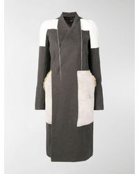 Rick Owens Patchwork Panelled Coat - Gray