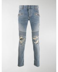 Balmain Bikerjeans im Distressed-Look - Blau