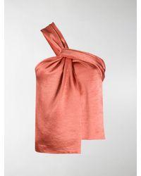 Nanushka Manon Twisted Front Top - Orange