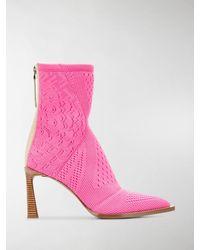 Fendi Fframe Jacquard Ankle Boots - Pink