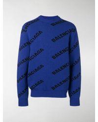 Balenciaga Logo Intarsia Wool Sweater - Blue