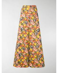 Marni Floral-print Twill Trousers - Yellow