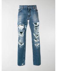Dolce & Gabbana | Distressed Straight Leg Jeans | Lyst