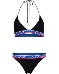 Off-White c/o Virgil Abloh Bikini mit Logo-Tape - Blau