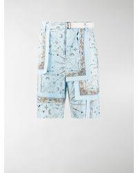 Sacai Cordshorts mit Paisley-Print - Blau