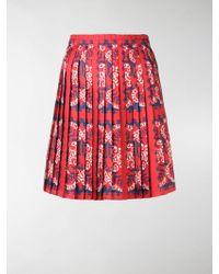Valentino Logo-print Pleated Skirt - Red