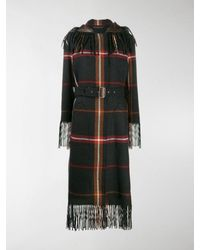 Ferragamo Fringed Tartan Coat - Gray