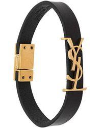 Saint Laurent Logo-plaque Buckled Bracelet - Black