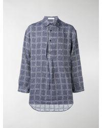 JW Anderson - Navy Logo Grid Tunic Linen Shirt - Lyst