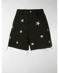 Saint Laurent Star Embroidered Denim Shorts - Black