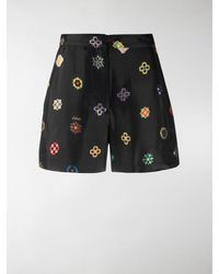 Kirin Geometric Print Shorts - Black