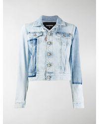 DSquared² Patch Cropped Denim Jacket - Blue
