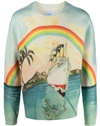 CASABLANCA Rainbow Print Sweater - Blue