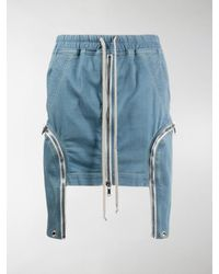 Rick Owens Drkshdw Zipped Drawstring-waist Denim Skirt - Blue