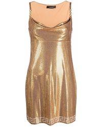 Versace Minikleid mit Netzeinsatz - Mettallic
