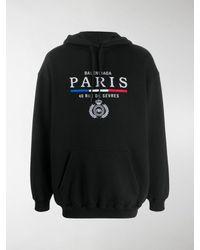 Balenciaga Embroidered Fleece-back Cotton-jersey Hoodie - Black
