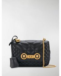 Versace - Black Small Quilted Leather Shoulder Bag - Lyst