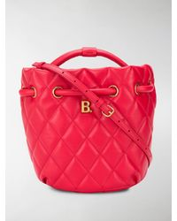 Balenciaga Small B Quilted Bucket Bag - Red