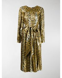 Marc Jacobs Belted Leopard Print Dress - Metallic