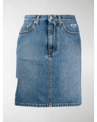 MSGM Heart Cut-out Skirt - Blue