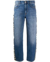 Stella McCartney Logo Striped Cropped Jeans - Blue