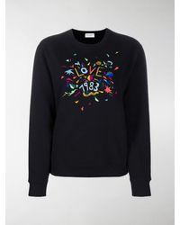 Saint Laurent Love 1983 Embroidered Sweatshirt - Black