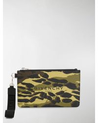 Givenchy Camouflage Print Pouch Bag - Green