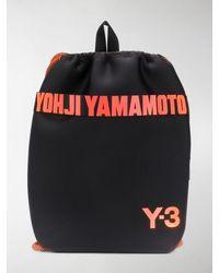 Y-3 Drawstring Logo Plaque Backpack - Black