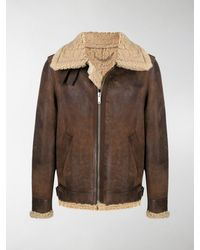 Golden Goose Deluxe Brand Lederjacke im Layering-Look - Braun