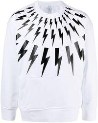 Neil Barrett Thunderbolt-print Sweatshirt - White